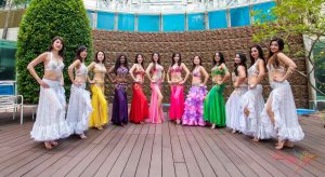 belly dancers in line formation