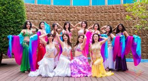 colorful group of belly dancers