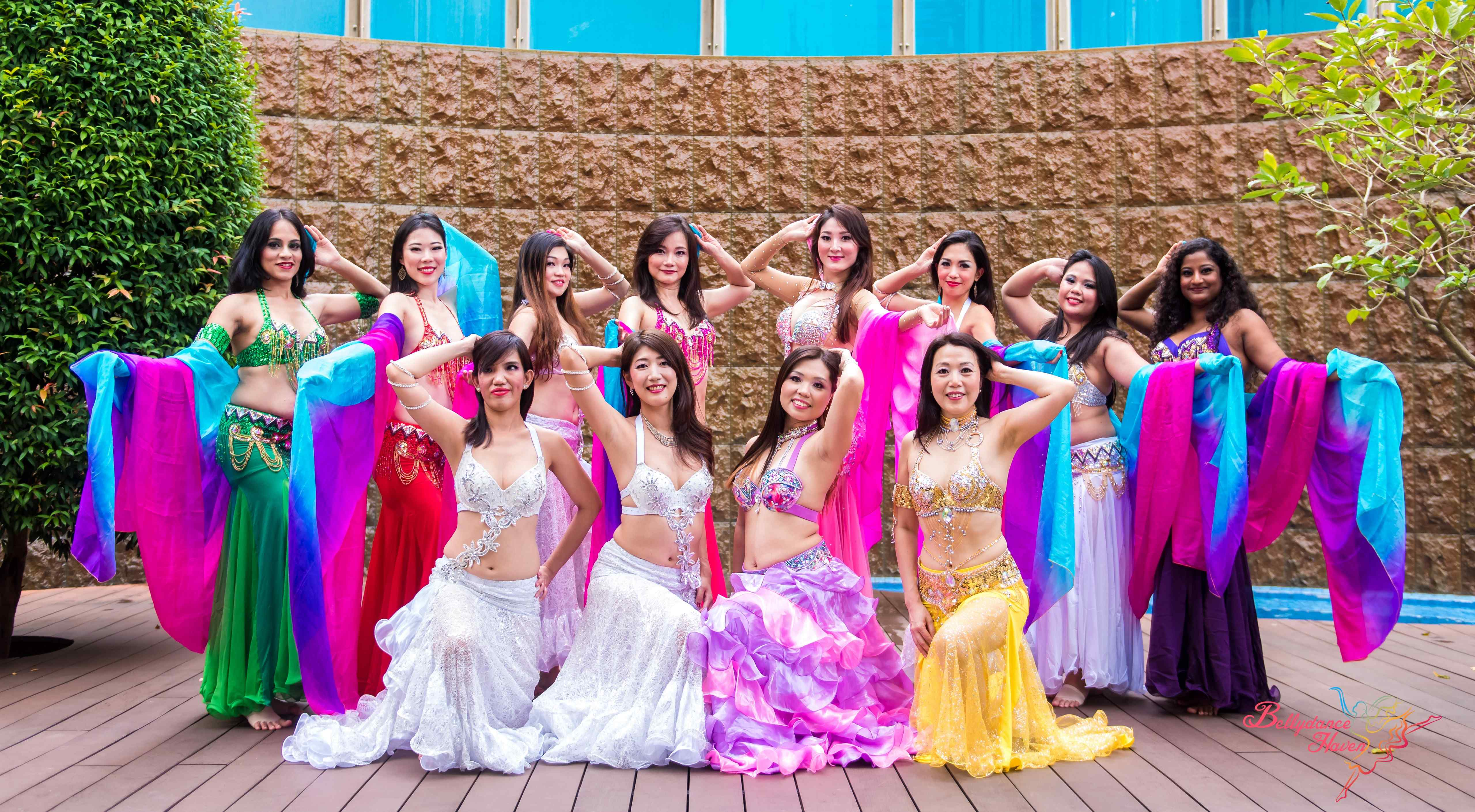 colorful belly dancers group